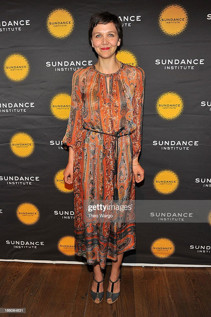 Actress <a gi-track='captionPersonalityLinkClicked' href=/galleries/search?phrase=Maggie+Gyllenhaal&family=editorial&specificpeople=202607 ng-click='$event.stopPropagation()'>Maggie Gyllenhaal</a> attends the Celebrate Sundance Institute benefit for its Theatre Program, supported by CÎROC Vodka at the Stephen Weiss Studio on April 8, 2013 in New York City.