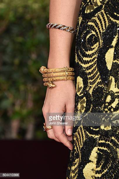 Actress Maggie Gyllenhaal bracelet detail attends the 73rd Annual Golden Globe Awards held at the Beverly Hilton Hotel on January 10 2016 in Beverly...