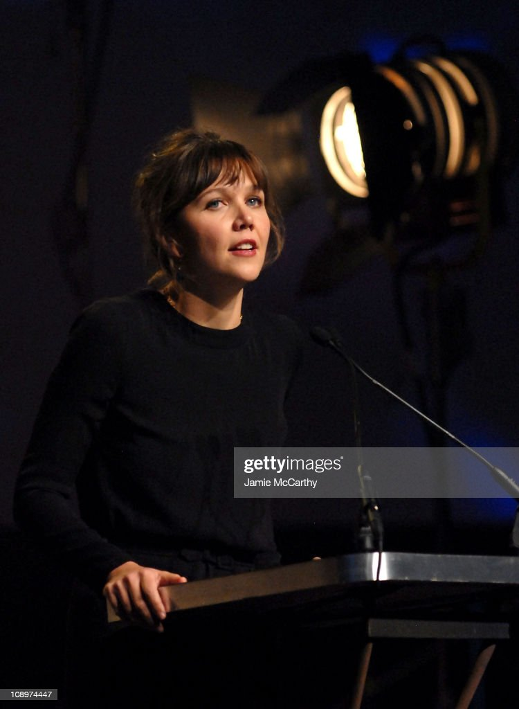 Actress <a gi-track='captionPersonalityLinkClicked' href=/galleries/search?phrase=Maggie+Gyllenhaal&family=editorial&specificpeople=202607 ng-click='$event.stopPropagation()'>Maggie Gyllenhaal</a> onstage during the 17th Annual Gotham Awards presented by IFP at Steiner Studios on November 27, 2007 in Brooklyn, NY.