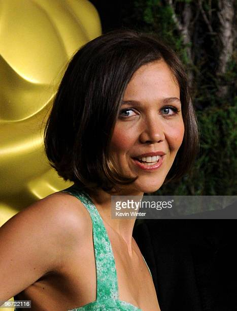 Actress Maggie Gyllenhaal poses at the 82nd annual Academy Awards Nominee Luncheon at Beverly Hilton Hotel on February 15 2010 in Los Angeles...