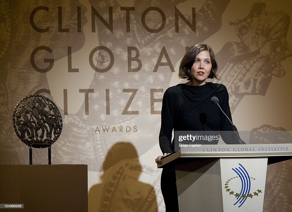 Actress <a gi-track='captionPersonalityLinkClicked' href=/galleries/search?phrase=Maggie+Gyllenhaal&family=editorial&specificpeople=202607 ng-click='$event.stopPropagation()'>Maggie Gyllenhaal</a> speaks during the Clinton Global Citizens Awards at the conclusion to the annual Clinton Global Initiative (CGI) on September 23, 2010 in New York City. The sixth annual meeting of the CGI gathers prominent individuals in politics, business, science, academics, religion and entertainment to discuss global issues such as climate change and the reconstruction of Haiti. The event, founded by Clinton after he left office, is held the same week as the General Assembly at the United Nations, when most world leaders are in New York City.