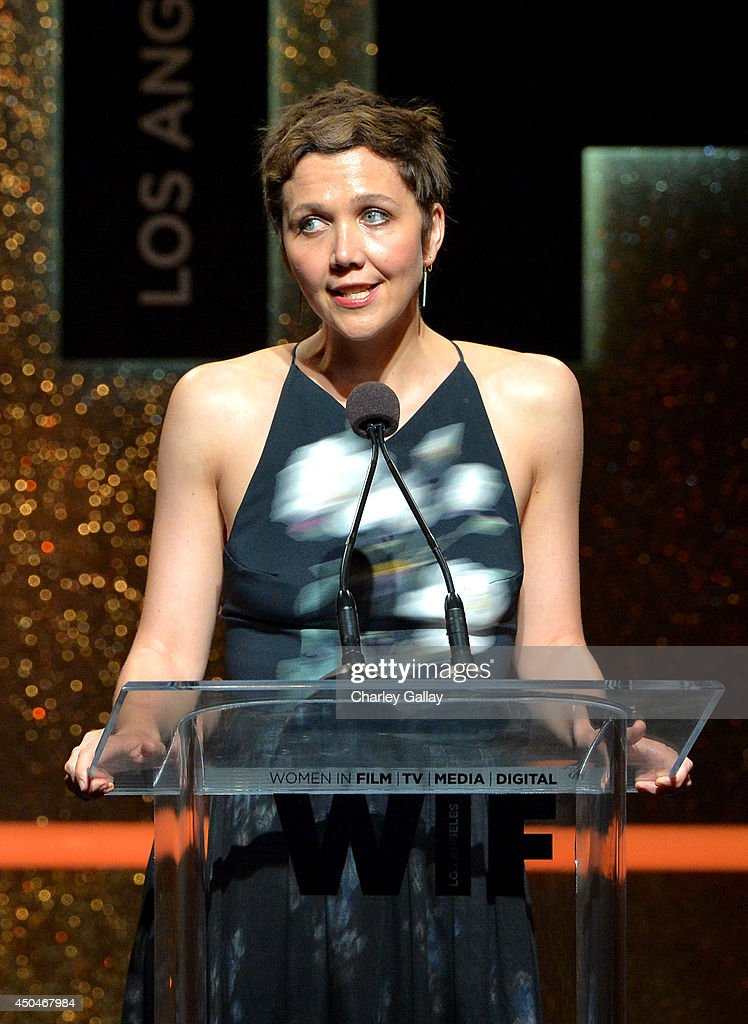 Actress Maggie Gyllenhaal speaks onstage at Women In Film 2014 Crystal + Lucy Awards presented by MaxMara, BMW, Perrier-Jouet and South Coast Plaza held at the Hyatt Regency Century Plaza on June 11, 2014 in Los Angeles, California.