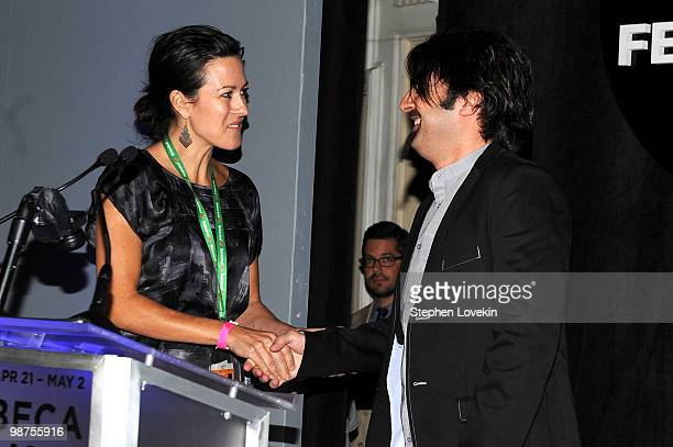 Actress Maggie Kiley and filmmaker Scandar Copti onstage at the Awards Night Show Party during the 2010 Tribeca Film Festival at the W New York Union...