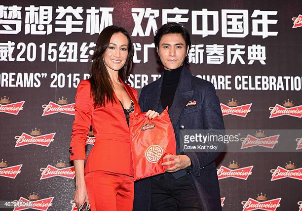 Actress Maggie Q and actor Chen Kun kickoff Chinese New Year celebrations by inspiring guests to toast to their dreams in 2015 at Budweiser's Toast...