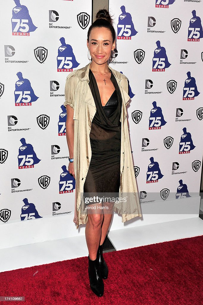 Actress <a gi-track='captionPersonalityLinkClicked' href=/galleries/search?phrase=Maggie+Q&family=editorial&specificpeople=555127 ng-click='$event.stopPropagation()'>Maggie Q</a> arrives at DC Entertainment and Warner Bros. host Superman 75 party at San Diego Comic-Con at Hard Rock Hotel San Diego on July 19, 2013 in San Diego, California. Celebrities, executives and comic book creators packed the Hard Rock Hotel's Float Bar in downtown San Diego Friday night to celebrate 75 years of Superman. The guest list included a who's who of Hollywood elite and Superman lore, from its current comic creators to the original 1978 film to the current Man of Steel, Henry Cavill.