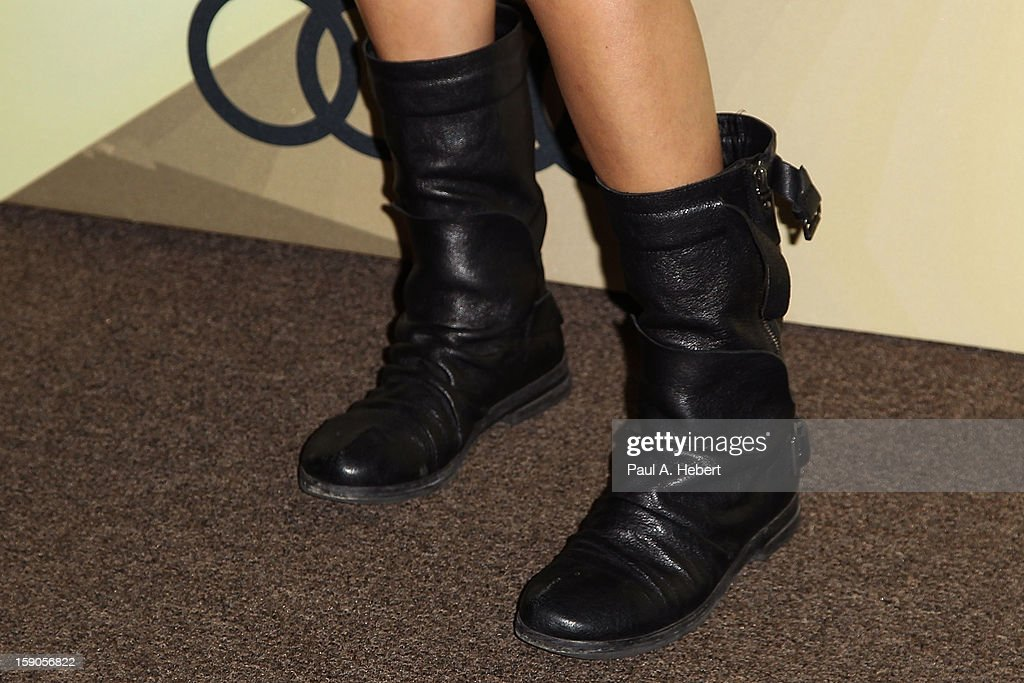 Actress Maggie Q (shoe detail) arrives at the Audi Golden Globe 2013 Kick Off Party at Cecconi's Restaurant on January 6, 2013 in Los Angeles, California.