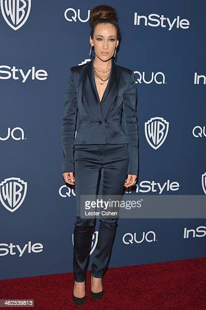 Actress Maggie Q attends the 2014 InStyle And Warner Bros 71st Annual Golden Globe Awards PostParty held at The Beverly Hilton Hotel on January 12...