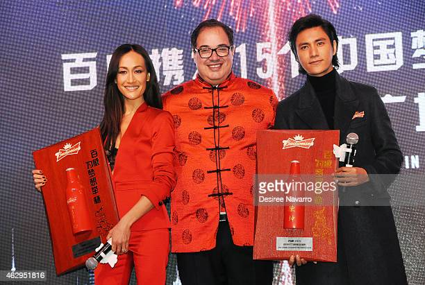 Actress Maggie Q Global Chief Marketing Officer at AnheuserBusch Miguel Patricio and actor Chen Kun attend Maggie Q Toasts The Chinese New Year at...