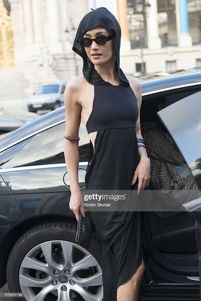 Actress <a gi-track='captionPersonalityLinkClicked' href=/galleries/search?phrase=Maggie+Q&family=editorial&specificpeople=555127 ng-click='$event.stopPropagation()'>Maggie Q</a> on day 1 of Paris Collections: Womens Haute Couture on July 01, 2013 in Paris, France.