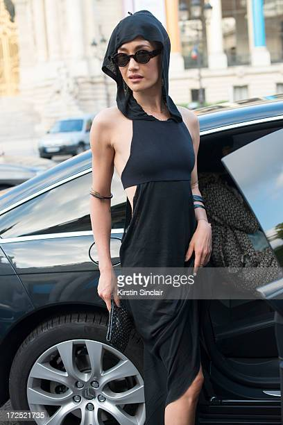 Actress Maggie Q on day 1 of Paris Collections Womens Haute Couture on July 01 2013 in Paris France