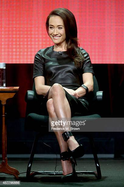 Actress Maggie Q speaks onstage at the 'Stalker' panel during the CBS Network portion of the 2014 Summer Television Critics Association at The...
