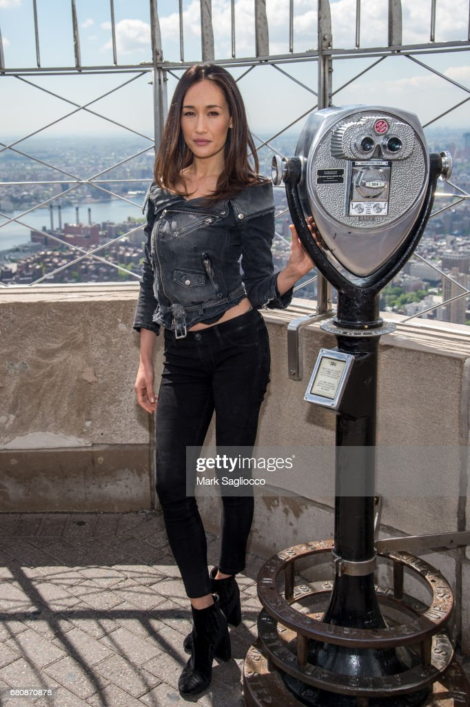Actress Maggie Q Visits The Empire State Building at The Empire State Building on May 9, 2017 in New York City.