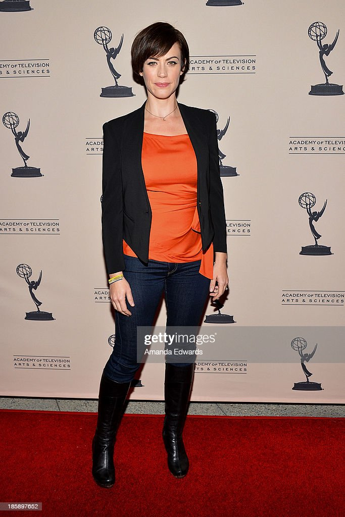 Actress Maggie Siff arrives at an evening with 'Sons Of Anarchy' presented by The Television Academy at the Leonard H. Goldenson Theatre on October 25, 2013 in North Hollywood, California.