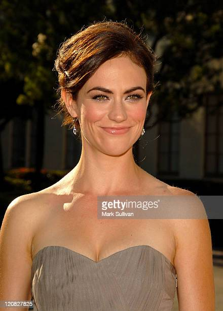 Actress Maggie Siff arrives at the premiere of 'Sons of Anarchy' at the Paramount Theater on August 24 2008 in Los Angeles California