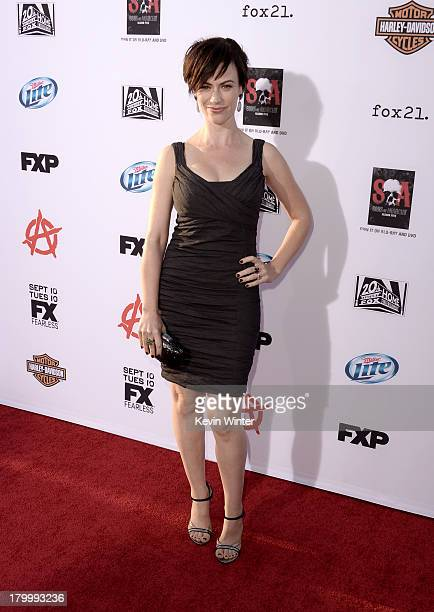 Actress Maggie Siff attends the season 6 premiere of FX's 'Sons Of Anarchy' at Dolby Theatre on September 7 2013 in Hollywood California