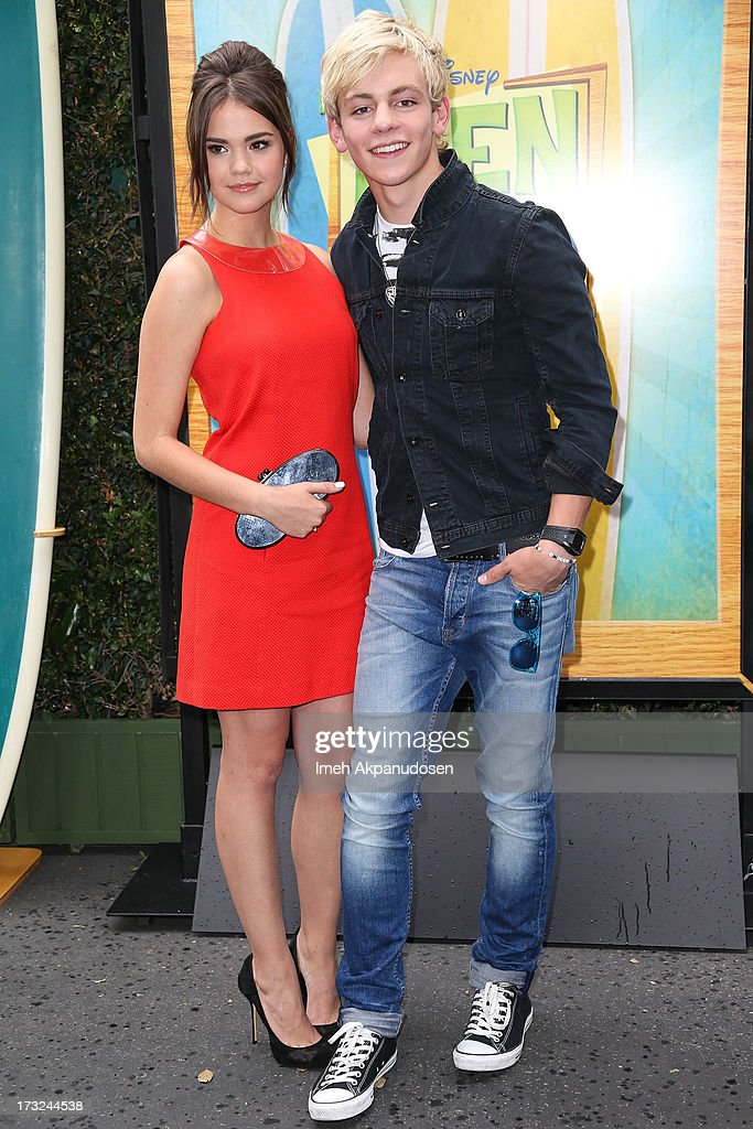 Actress Maia Mitchell (L) and actor/singer Ross Lynch attend the cast of 'Teen Beach Movie' reunion for movie night at Walt Disney Studios on July 10, 2013 in Burbank, California.