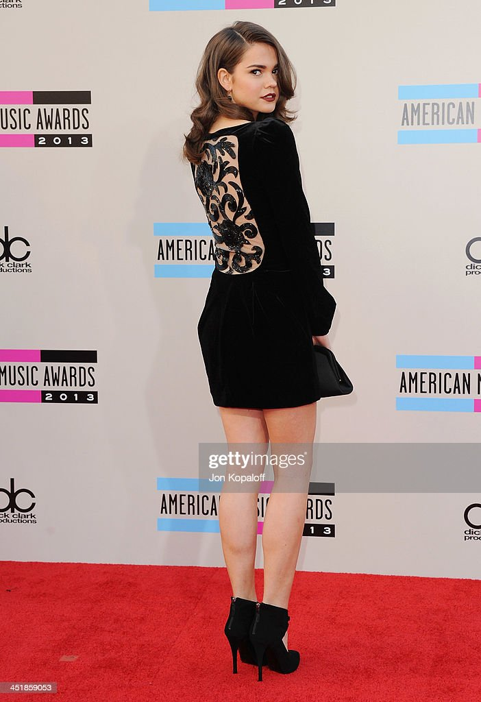 Actress <a gi-track='captionPersonalityLinkClicked' href=/galleries/search?phrase=Maia+Mitchell&family=editorial&specificpeople=9453855 ng-click='$event.stopPropagation()'>Maia Mitchell</a> arrives at the 2013 American Music Awards at Nokia Theatre L.A. Live on November 24, 2013 in Los Angeles, California.