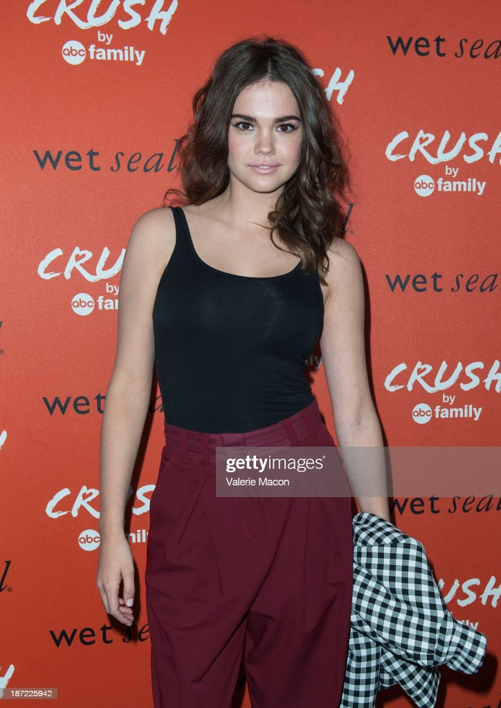 Actress <a gi-track='captionPersonalityLinkClicked' href=/galleries/search?phrase=Maia+Mitchell&family=editorial&specificpeople=9453855 ng-click='$event.stopPropagation()'>Maia Mitchell</a> arrives at the Launch Celebration Of Crush By ABC Family at The London Hotel on November 6, 2013 in West Hollywood, California.