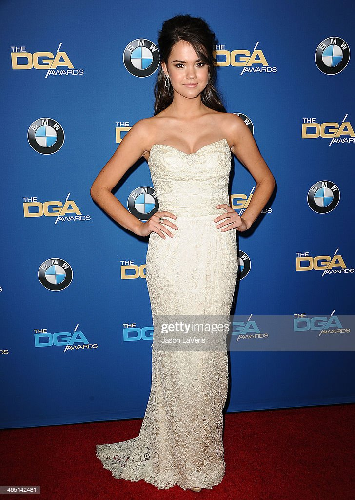 Actress <a gi-track='captionPersonalityLinkClicked' href=/galleries/search?phrase=Maia+Mitchell&family=editorial&specificpeople=9453855 ng-click='$event.stopPropagation()'>Maia Mitchell</a> attends the 66th annual Directors Guild of America Awards at the Hyatt Regency Century Plaza on January 25, 2014 in Century City, California.