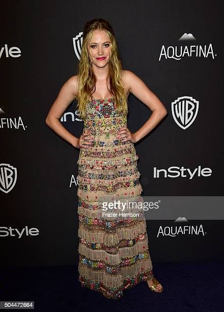 Actress Maika Monroe attends InStyle and Warner Bros 73rd Annual Golden Globe Awards PostParty at The Beverly Hilton Hotel on January 10 2016 in...