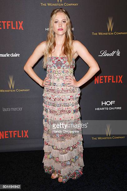 Actress Maika Monroe attends the 2016 Weinstein Company and Netflix Golden Globe Awards After Party at The Beverly Hilton on January 10 2016 in Los...
