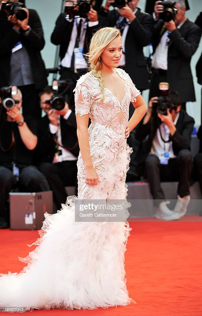 Actress Maika Monroe attends the 'At Any Price' premiere during the 69th Venice Film Festival at the Palazzo del Cinema on August 31, 2012 in Venice, Italy.