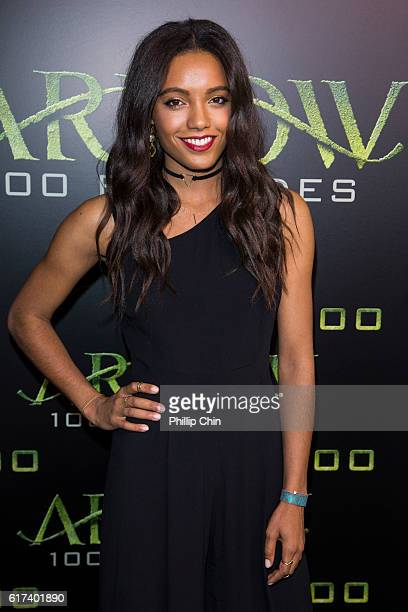 Actress Maisie RichardsonSellers arrives on the green carpet for the celebration of the 100th Episode of CW's 'Arrow' at the Fairmont Pacific Rim...