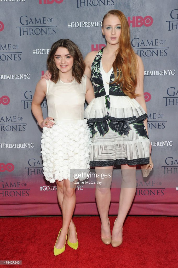 Actress <a gi-track='captionPersonalityLinkClicked' href=/galleries/search?phrase=Maisie+Williams&family=editorial&specificpeople=1766400 ng-click='$event.stopPropagation()'>Maisie Williams</a> and actress Sophie Turner attend the 'Game Of Thrones' Season 4 New York premiere at Avery Fisher Hall, Lincoln Center on March 18, 2014 in New York City.