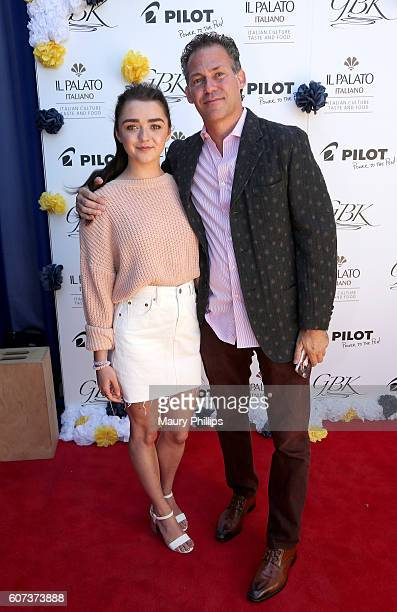Actress Maisie Williams and Gavin Keilly attend PILOT PEN GBK's PreEmmy Luxury Lounge Day 2 at L'Ermitage Beverly Hills Hotel on September 17 2016 in...