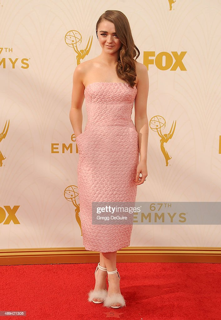 Actress Maisie Williams arrives at the 67th Annual Primetime Emmy Awards at Microsoft Theater on September 20 2015 in Los Angeles California