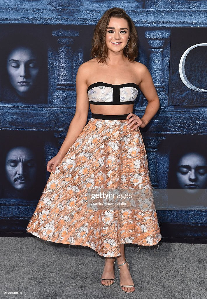 Actress Maisie Williams arrives at the premiere of HBO's 'Game Of Thrones' Season 6 at TCL Chinese Theatre on April 10 2016 in Hollywood California