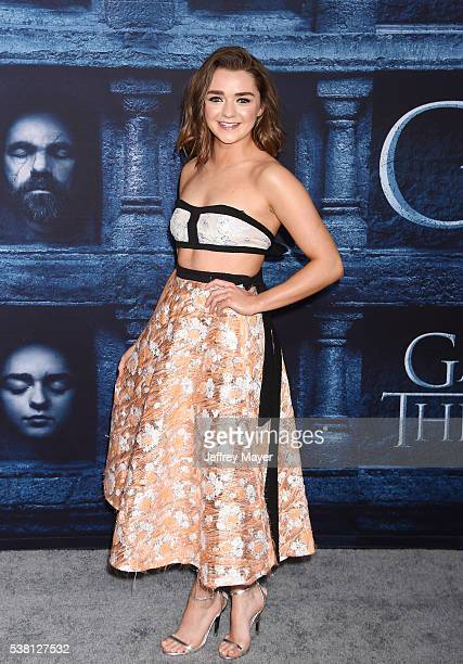 Actress Maisie Williams arrives at the premiere of HBO's 'Game of Thrones' Season 6 at the TCL Chinese Theatre on April 10 2016 in Hollywood...