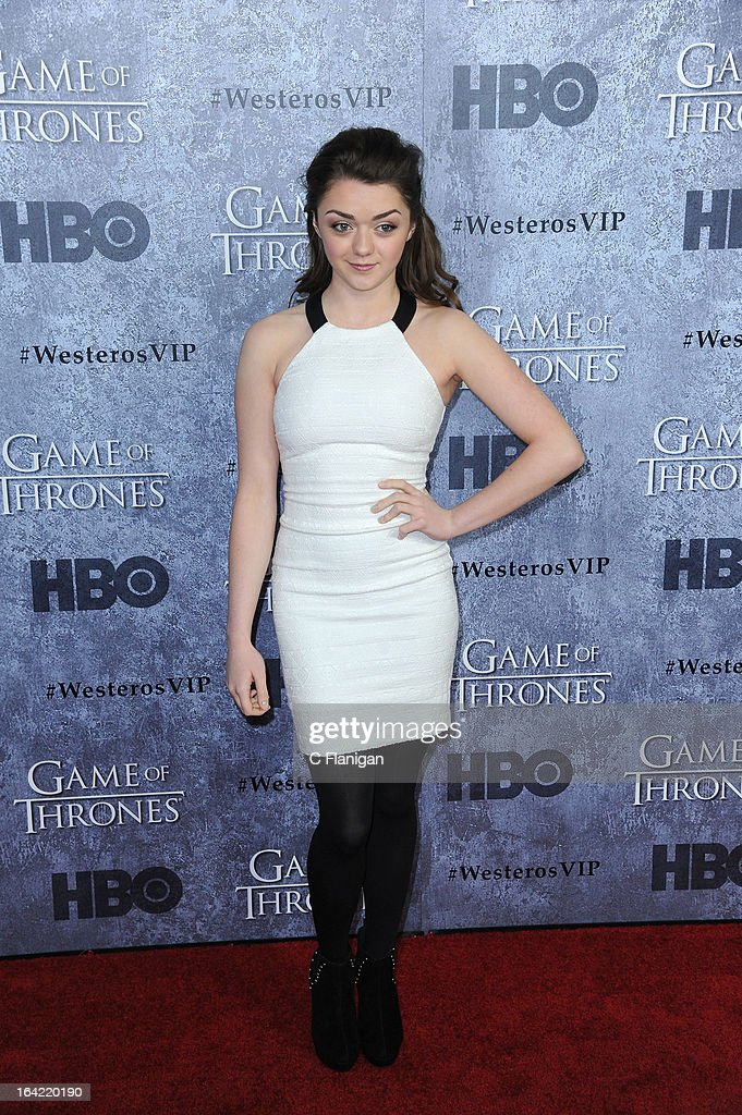 Actress Maisie Williams arrives at the San Francisco Premiere For HBO's 'Game Of Thrones' Season 3 at Palace Of Fine Arts Theater on March 20, 2013 in San Francisco, California.