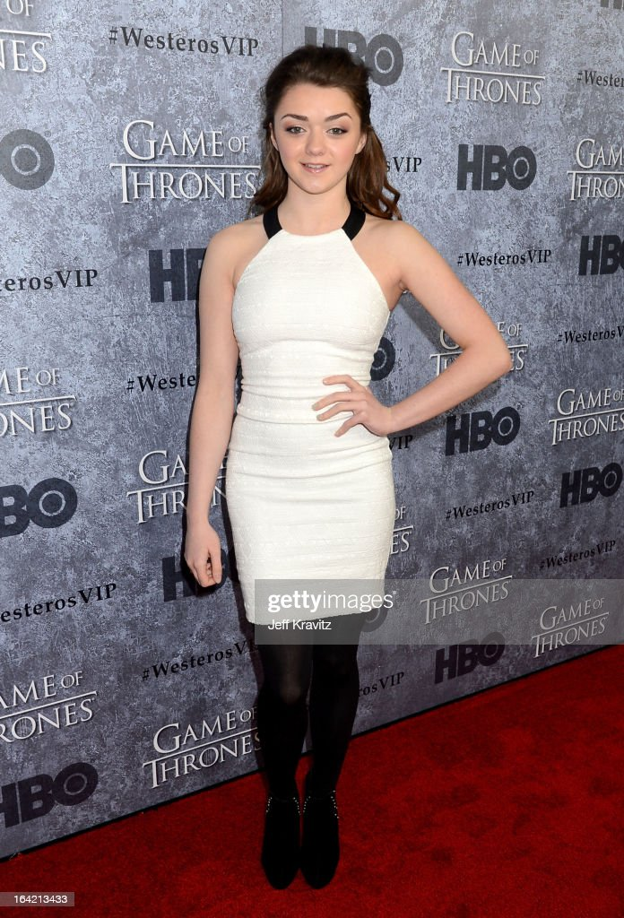 Actress Maisie Williams attends HBO's 'Game Of Thrones' Season 3 San Francisco Premiere on March 20, 2013 in San Francisco, California.