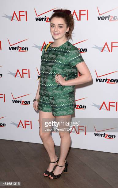 Actress Maisie Williams attends the 14th annual AFI Awards Luncheon at the Four Seasons Hotel Beverly Hills on January 10 2014 in Beverly Hills...