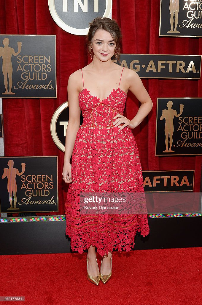 Actress Maisie Williams attends the 21st Annual Screen Actors Guild Awards at The Shrine Auditorium on January 25 2015 in Los Angeles California