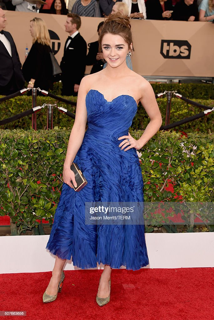 Actress Maisie Williams attends The 22nd Annual Screen Actors Guild Awards at The Shrine Auditorium on January 30 2016 in Los Angeles California...