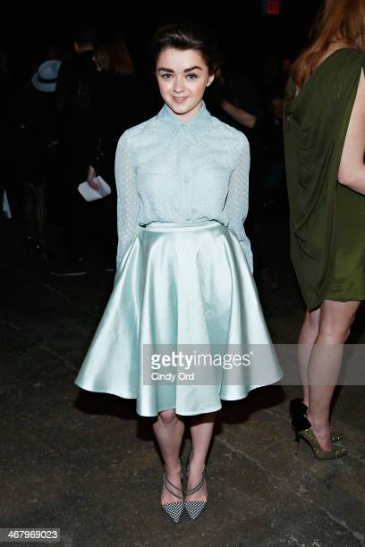 Actress Maisie Williams attends the Christian Siriano fashion show during MercedesBenz Fashion Week Fall 2014 at Eyebeam on February 8 2014 in New...