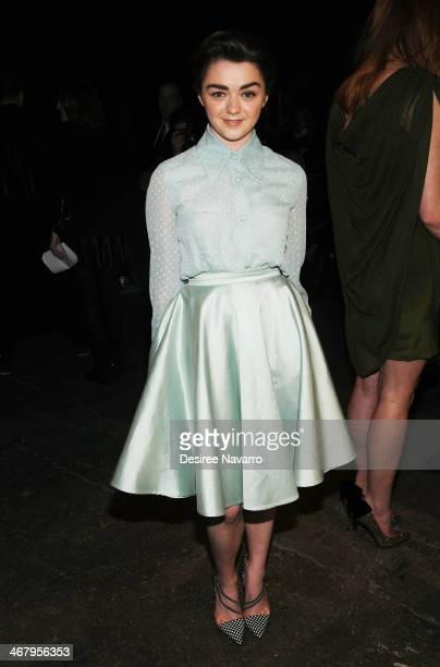 Actress Maisie Williams attends the Christian Siriano show during MercedesBenz Fashion Week Fall 2014 at Eyebeam Atelier on February 8 2014 in New...