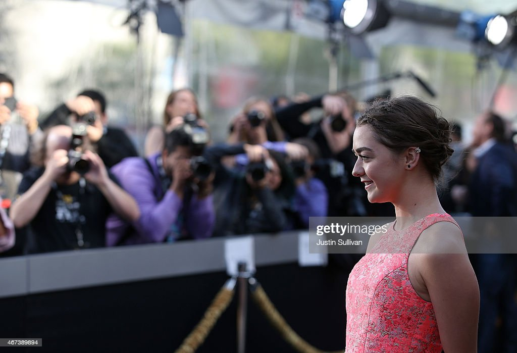 Actress Maisie Williams attends the premiere of HBO's 'Game of Thrones' Season 5 at San Francisco Opera House on March 23 2015 in San Francisco...