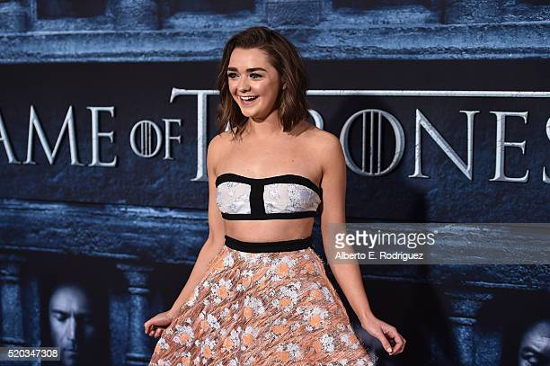 Actress Maisie Williams attends the premiere of HBO's 'Game Of Thrones' Season 6 at TCL Chinese Theatre on April 10 2016 in Hollywood California
