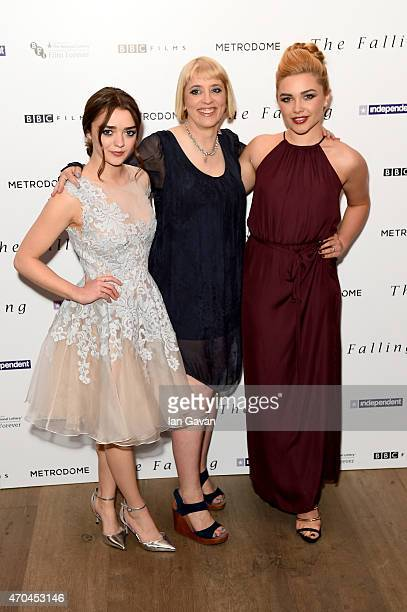 Actress Maisie Williams director Carol Morley and actress Florence Pugh attend the London gala screening of 'The Falling' at Ham Yard Hotel on April...