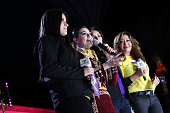 Actress Maite Perroni singer Graciela Beltran tv personalities Giselle Blondet and Jessica Maldonado on stage during Teleton USA 2014 at Plaza Mexico...