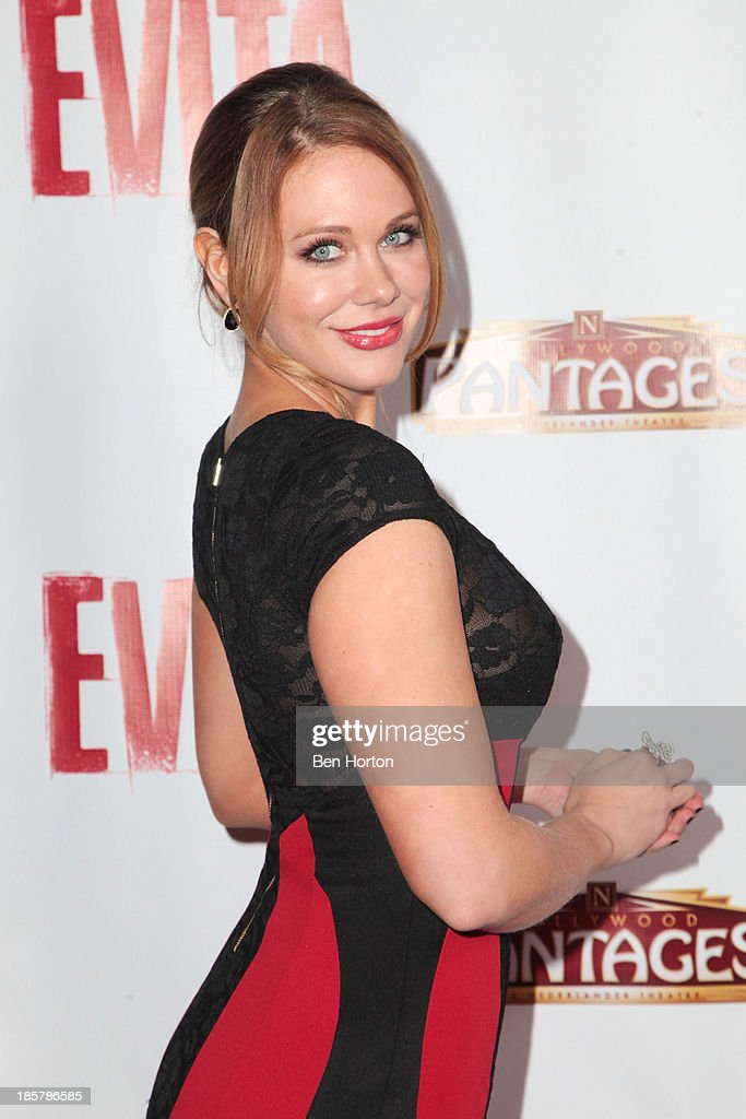 Actress <a gi-track='captionPersonalityLinkClicked' href=/galleries/search?phrase=Maitland+Ward&family=editorial&specificpeople=2850630 ng-click='$event.stopPropagation()'>Maitland Ward</a> attends the 'Evita' Los Angeles opening night at the Pantages Theatre on October 24, 2013 in Hollywood, California.
