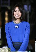 Actress Maki Horikita attends a ceremony to illuminate the White Sacas Toyotown Ice Garden on November 7 2014 in Tokyo Japan