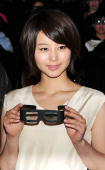 Actress Maki Horikita attends the 'Fly Me To The Moon 3D' stage greeting at Shinjuku Wald 9 on March 5 2009 in Tokyo Japan The film will open on...