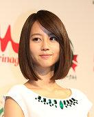 Actress Maki Horikita attends the Morinaga press conference on December 10 2014 in Tokyo Japan