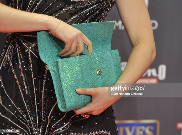 Actress Malena Gonzalez handbag detail attends the 'Platino Awards 2017' photocall at La Caja Magica on July 22 2017 in Madrid Spain