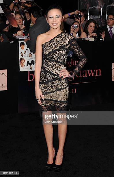 Actress Malese Jow arrives at the Los Angeles Premiere 'The Twilight Saga Breaking Dawn Part 1' at Nokia Theatre LA Live on November 14 2011 in Los...