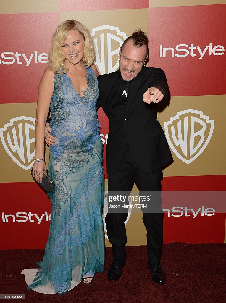 Actress Malin Ackerman (L) and Roberto Zincone attend the 14th Annual Warner Bros. And InStyle Golden Globe Awards After Party held at the Oasis Courtyard at the Beverly Hilton Hotel on January 13, 2013 in Beverly Hills, California.